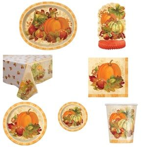 Thanksgiving Plates Napkins Tablecloth Cups + more